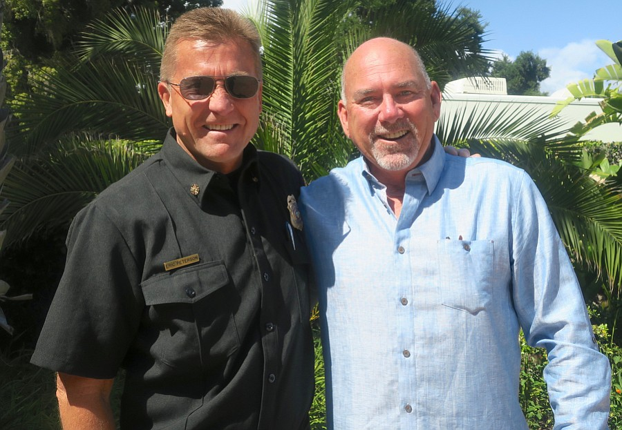 Santa Barbara County Fire Chief Eric Peterson and Santa Barbara Firefighters Alliance President Paul Cashman.
