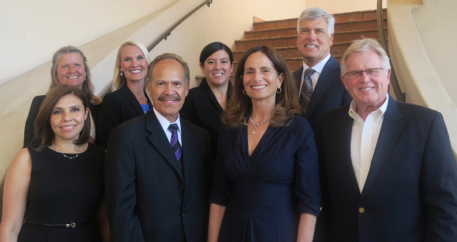 Grant Recipients: 1st row: Director of Community of Schools and PEAC Initiatives at PEAC (Program for Effective Access to College) Patricia Madrigal; Domestic Violence Solutions Executive Director Charles Anderson; AHA! Executive Director Jennifer Freed, Casa Pacifica CEO Steven Elson; 2nd row:  Youth and Family Services, YMCA Executive Director Valerie Kissell; Adams School Principal Amy Alzina (Accelerated Reader Program); St. Vincents CFO and COO Rosa Paredes; and Peoples' Self-Help Housing President and CEO John Fowler.