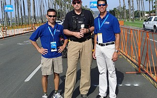 READY TO ROLL: Three men responsible for moving 136 cyclists through the area in the Amgen Tour of California are (from left) Armando Requejo, chair of the Local Organizing Committee (LOC); Eric Smith, event director for Amaury Sport Organization; and David Gonzales, technical director for the LOC.