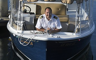 Stephan Goularte aboard the <em>Whisper </em>
