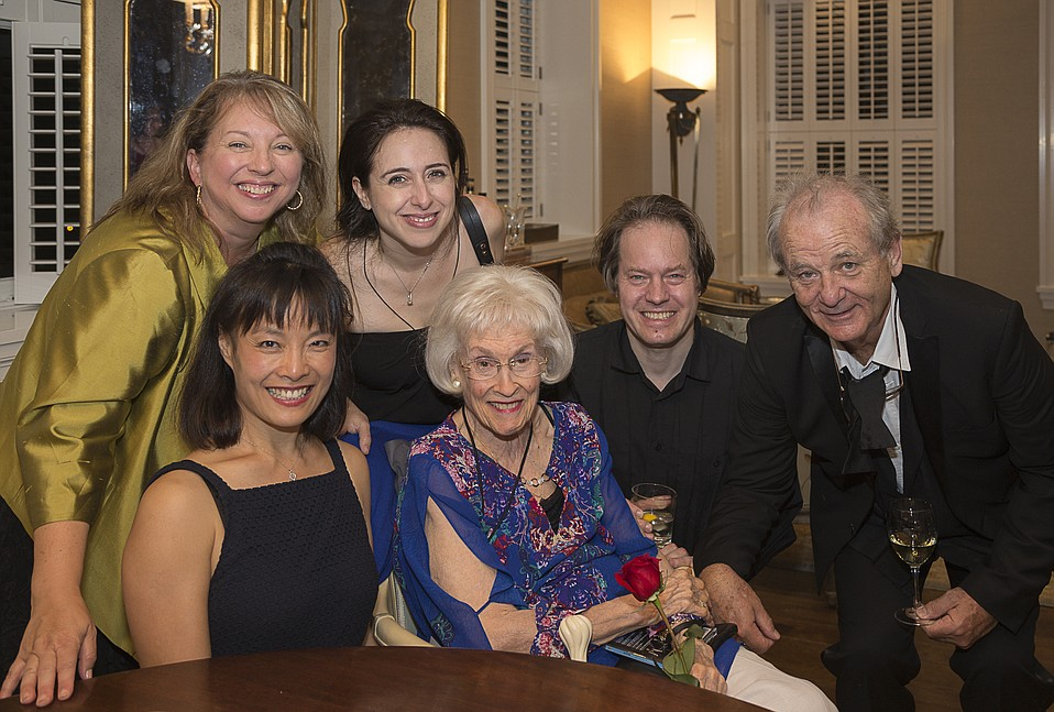 Executive Director Celesta Billeci, Mira Wang, Vanessa Perez, Sara Miller McCune, Jan Vogler, and Bill Murray.