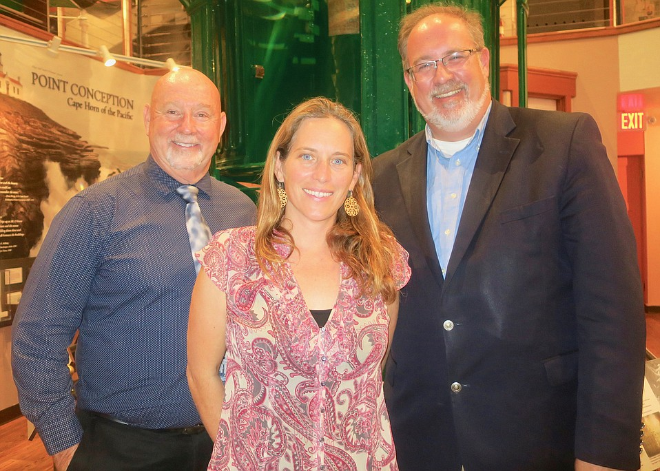 Santa Barbara Maritime Museum Executive Director Greg Gorga, FishSB Executive Director and Commercial Fishermen of Santa Barbara Executive Director Kim Selkoe, and the Chamber of the Santa Barbara Region President/CEO Ken Oplinger,