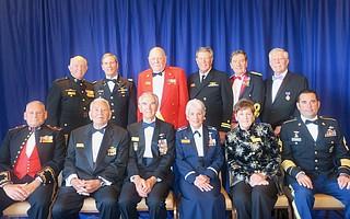 Pierre Claeyssens Veterans Foundation Boardmembers: front row: BGen. Fred Lopez, USMCR (ret.), Maj. Jose Ramirez, USMC (ret.), Col. Phil Conran, USAF (ret.), Lt. Col. Maureen Masson, USAF (ret.), Hazel Blankenship, MSG Jon Parra, US Army (ret.); back row Capt. Dennis Peterson, USMC (former), Capt. Joe Danely, US Army (former), Cpl. Pete Schenck, USMC (former), LT. John Blankenship, USN (former), Col. Ed Dewey, US Army (ret.), Sgt. Michael Cook,US Army (former).