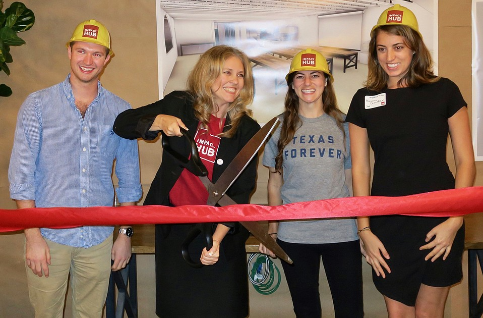 Impact Hub Business Development Director Ted Singley, Impact Hub cofounder Diana Pereira, Impact Hub State Street Manager Kristin Boehm, and Impact Hub Events and Marketing Manager Breanna Chandler.