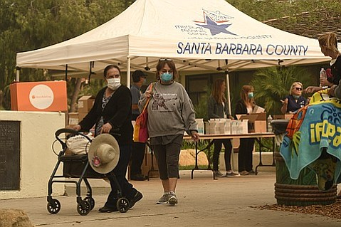 A partnership between Direct Relief, the and the Santa Barbara County Medical Reserve Corp made N95 masks available to the public at four locations Friday at Costco in Goleta, Franklin Community Center (pictured), AlbertsonÕs in Carpinteria and the Lower Village in Montecito. (Dec. 8, 2017)