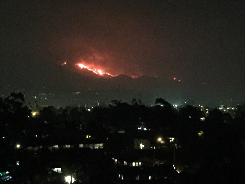 Though burning in Escondido Canyon in the distant backcountry above Toro Canyon, the Thomas Fire is visible from Santa Barbara's Westside.