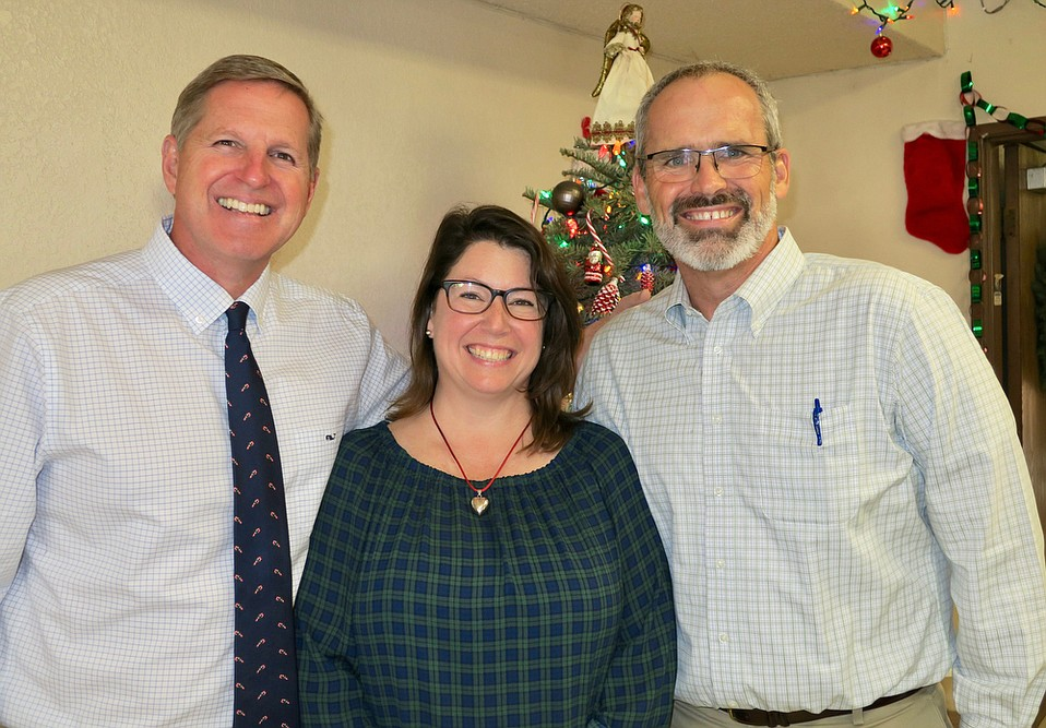 Volunteer Tommy Schneider (Pastor, Calvary Chapel Santa Barbara), volunteer Debi Schneider, and Rescue Mission President Rolf Geyling.