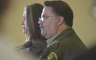 Santa Barbara County Sheriff Bill Brown addresses the media after Tuesday's deadly mudslides in Montecito (Jan. 9, 2018)
