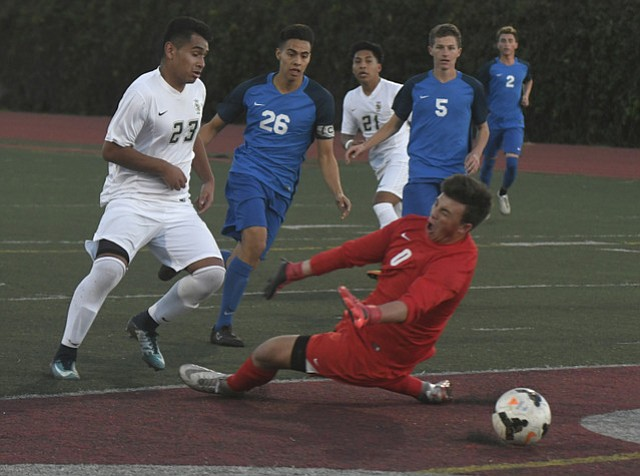 "Santa Barbara High's Juan Carlos Torres (23), known as ""J.C.,"" led the Dons to a 3-0 victory over the San Marcos Royals."