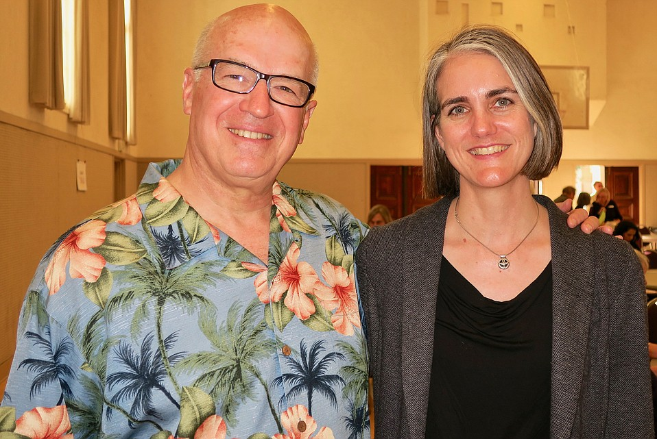 ISA Steering Committee Members Rev. Mark Asman (retired, Trinity Episcopal Church) and Rev. Julia Hamilton (Lead Minister, Unitarian Society of Santa Barbara).