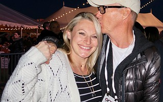 Ashley Iverson (widow of firefighter Cory Iverson) and Michael Keaton.