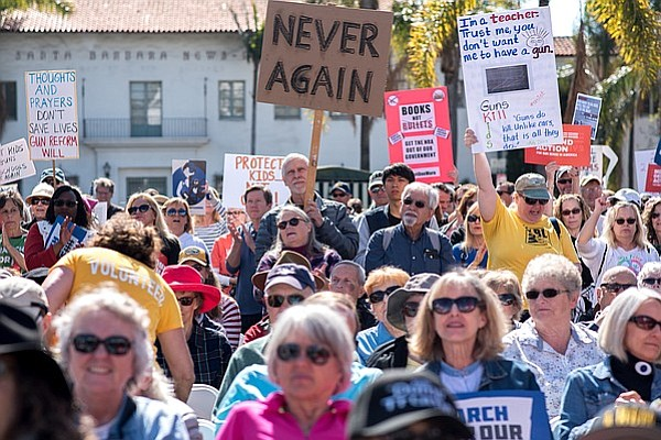 Hundreds gathered at De la Guerra Plaza to protest gun violence during the Santa Barbara March for Our Lives rally.