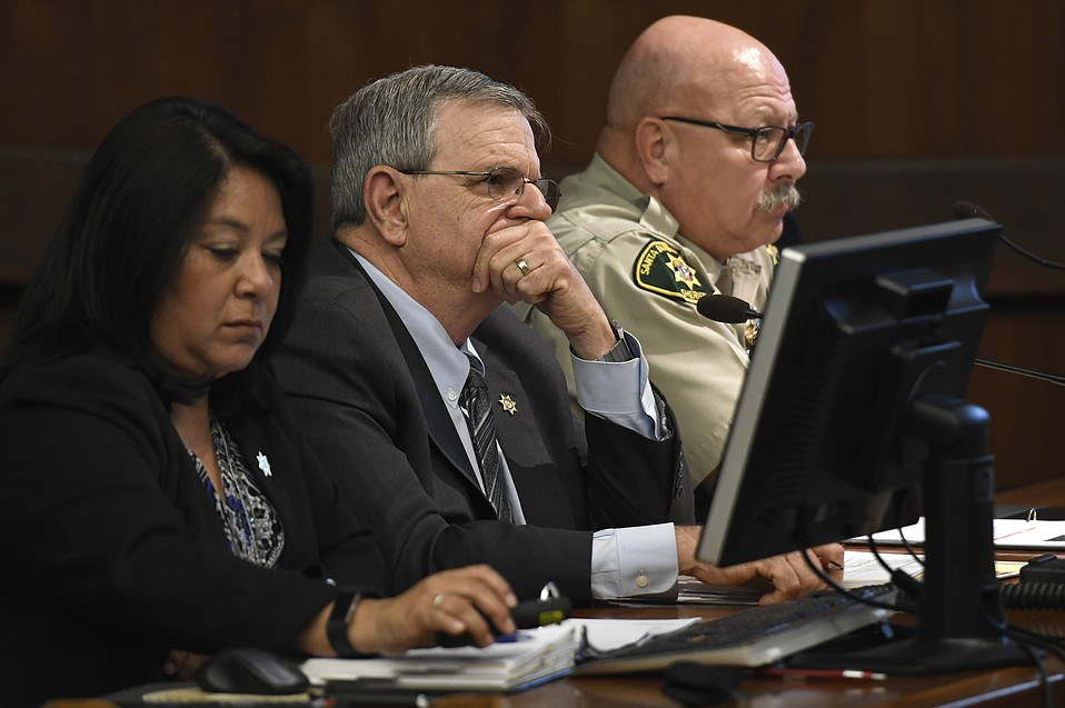 Santa Barbara Undersheriff Barney Melekian (center) at County budget talks on Friday