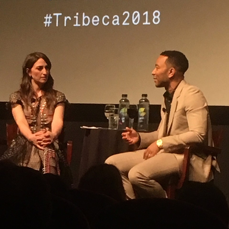 Sara Bareilles and John Legend chat about music, theater, and movies at Tribeca Film Festival's Storytellers event.