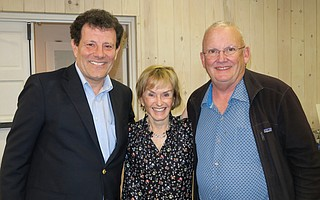 Nicholas Kristof with event sponsors Dorothy Largay and Wayne Rosing at the donor reception.