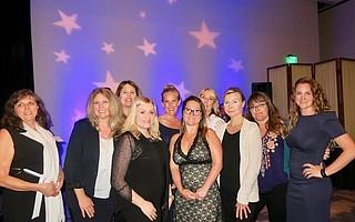 SOE Winners,l-r: Marta Alvarez, Diana Pereira, Sarah Otterstrom, Lindsey Carnett, Robin Long, Nirasha Rodriguez, Michele McDowell, Zdena Jiroutova, Raiza Giorgi, and Ann Levine.