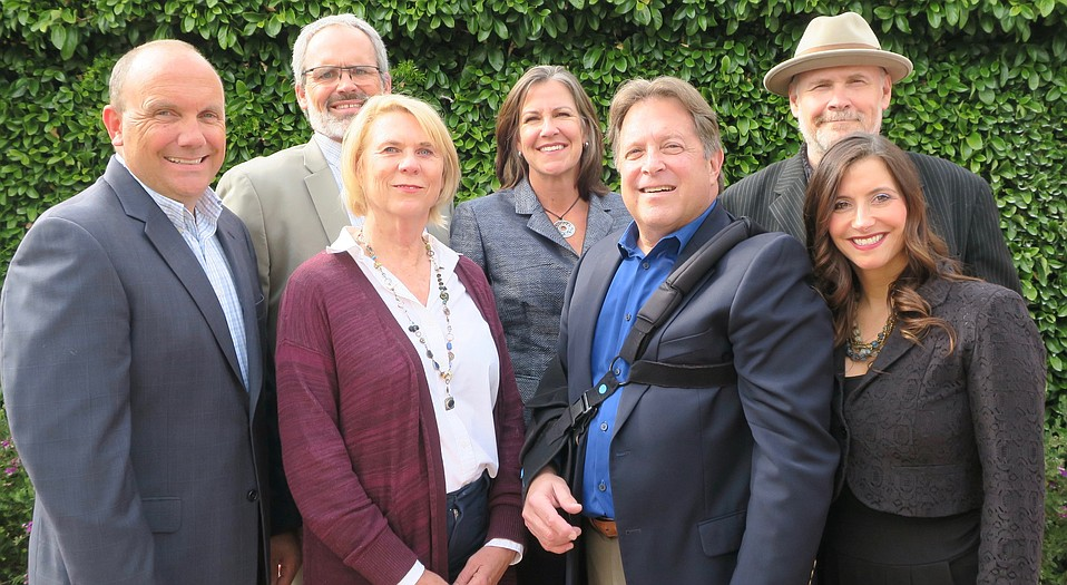 United Boys & Girls Club CEO Michael Baker, S.B. Rescue Mission President Rolf Geyling, S.B. Education Foundation Executive Director Margie Yahyavi, Goleta Education Foundation President Lisa Rivas, CADA President and CEO Ed Stonefelt, Foodbank of S.B. County CEO Erik Talkin, and Children's Resource & Referral of S.B. County Executive Director Michelle Graham.