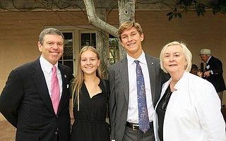 Board Chair Don Logan, scholarship recipients and event speakers Shayne Martinuik and Evan Knight, and Interim President and CEO Barbara Robertson.