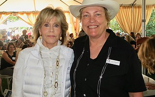 Honoree Jane Fonda and Board President Judy Pirkowitsch at Environmental Defense Center's Green & Blue event