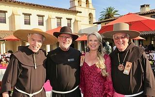 Father Dan Lackie, OFM, Father John Hardin, OFM, La Presidenta Denise Sanford, and Father Larry Gosselin, OFM.