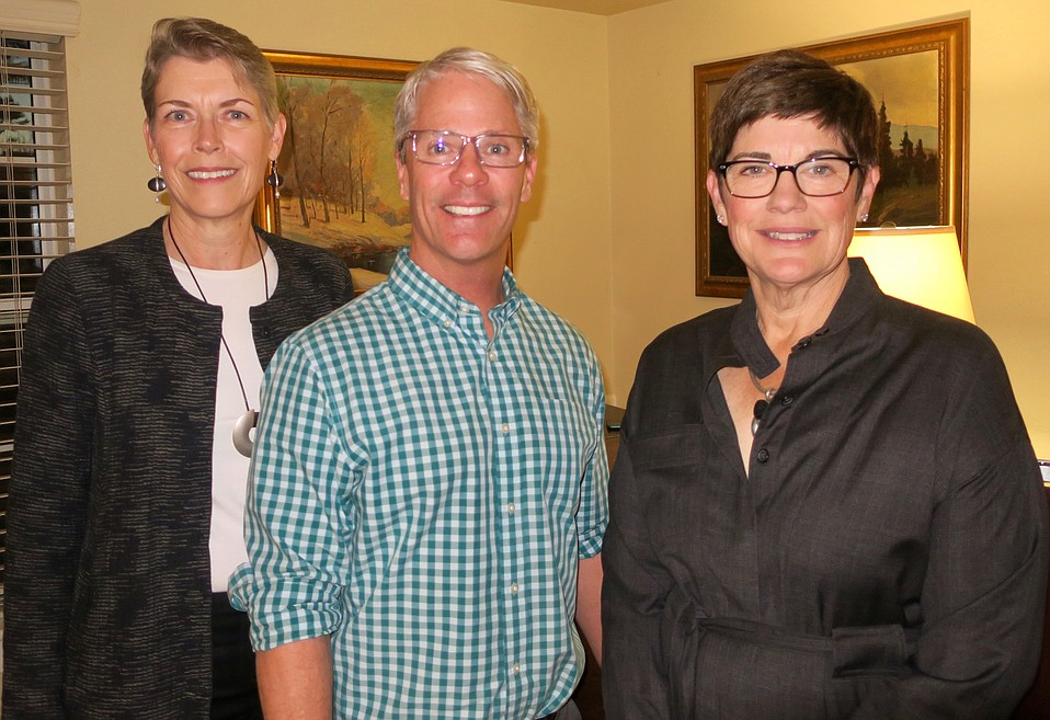Membership Chair Lynn Karlson, Garden Court Executive Director Chris Tucker, and Research Committee Co-chair Maureen Ellenberger (all event speakers)