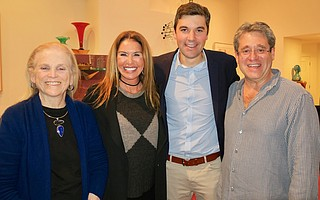 Venue host Susan Rose, event sponsor Tracy Bollag, Eli Saslow, and event sponsor Michael Bollag at donor reception