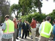 Salud Carbajal examines Sycamore Canyon Road with Caltrans officials.