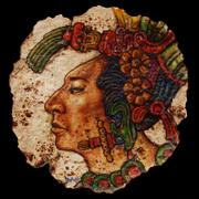 "Joe Bravo's ""Maya,"" painted on a corn tortilla, reframes an iconic Latin image."