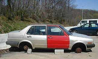 Vandalized car