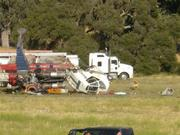 Closeup on the crash site of the contract helicopter used on the Zaca Fire.