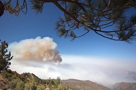 An absolutely beautiful picture from Figueroa Mountain Lookout that would bring oohs and awes on any day but this. What appears to be cloud-like is actually a major firestorm raging over the Bald Mountain area of Hurricane Deck.