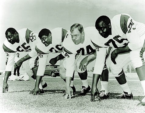 L.A. Rams coach George Allen inherited the Fearsome Foursome (from left: Lamar Lundy, Rosey Grier, Merlin Olsen, and Deacon Jones) when he came to the helm in 1966.