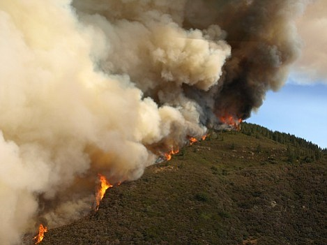 Fire causes massive amounts of smoke to form a four mile wide column that dumped ash throughout Santa Barbara.
