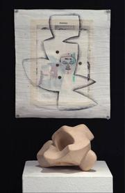 Both the pictured work on paper (top) and the clay sculpture are part of Rafael Perea de la Cabada's Faces and Facets series.