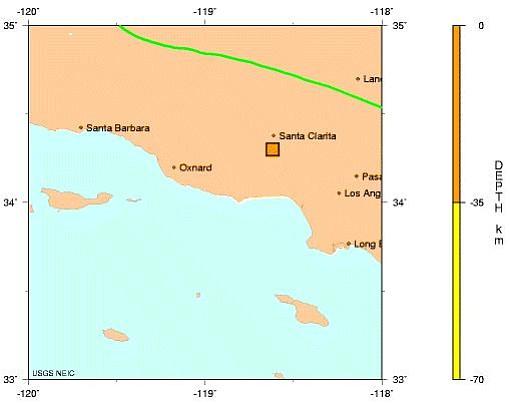 USGS map of the Chatsworth quake