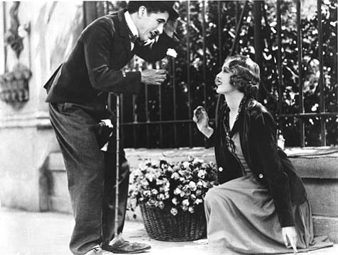 Charlie Chaplin woos his love interest, Virginia Cherrill's Blind Girl, in City Lights, Chaplin's 1931 silent classic. The film screens at Campbell Hall next Wednesday.
