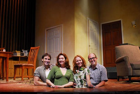 The cast of Rubicon Theatre's production of Bad Apples, from left: Eddie (Patrick Hallahan), Ida (Clarinda Ross), Peg (Precious Chong), and Brook (Eric Lange).