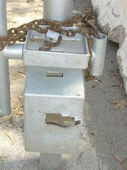 The vandalized lock on the Sycamore Canyon gate.