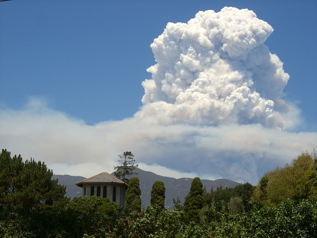 Smoke from the Zaca Fire on Tuesday, August 14.