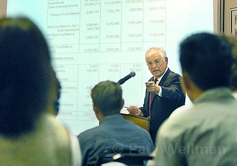 School district money guru Ed Diaz tried to explain to frustrated parents, teachers, and boardmembers what was going on with the district's money at a meeting on Tuesday.