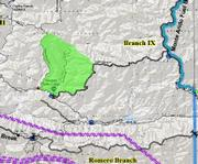 Light green shading shows the approximate area that will be part of the back fire operations today. At the lower point the fire will be within a few hundred yards of the Santa Ynez River.