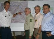 Montecito Fire Chief Kevin Wallace with U.S. Forest Service District Ranger John Bridgewater, Montecito Association President Bill Palladini, and First District Supervisor Salud Carbajal.