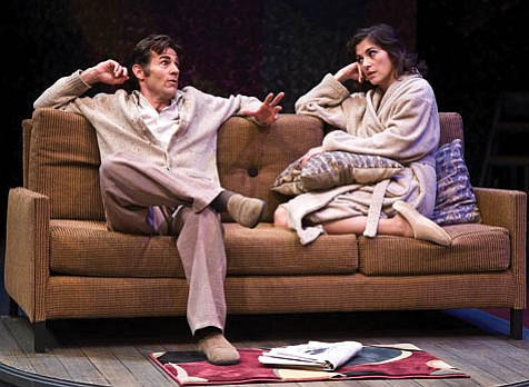 Andrew Philpot as the playwright Henry and Anastasia Coon as his first wife, the actress Charlotte, in PCPA's production of Tom Stoppard's <em>The Real Thing</em>.