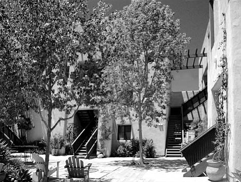 The bucolic courtyard of El Zoco, Santa Barbara's only low-income unit designed specifically for artists.