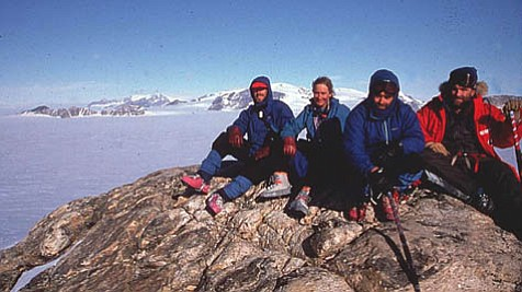 UCSB researchers Steve Richard, Christine Siddoway, Bruce Luyendyk, and Dave Kimbrough on Antarctica.