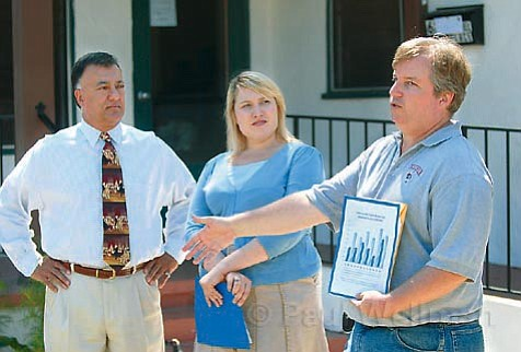 Measure A proponents Hal Conklin, Emily Allen, and David Pritchett gathered on the lower Westside on Tuesday to launch their Measure A campaign.