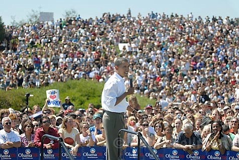 """Barack Obama stops for a """"Grassroots Rally"""" at Santa Barbara City College Campus Saturday afternoon Sept. 8, 2007 on his way to a fundraiser at  Oprah Winfrey's house in Montecito."""