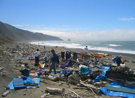 The crew sets up camp near Cape Mendecino, August 2004.