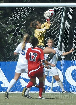 Gaucho Katie Wright keeps the goal safe in a 1-1 tie against UNLV last Sunday.