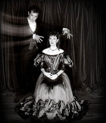 Ann Magnuson and Kristian Hoffman in the photos for the CD <em>Pretty Songs & Ugly Stories</em>.
